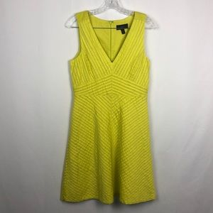 J CREW Chevron Pleated Dress Citron